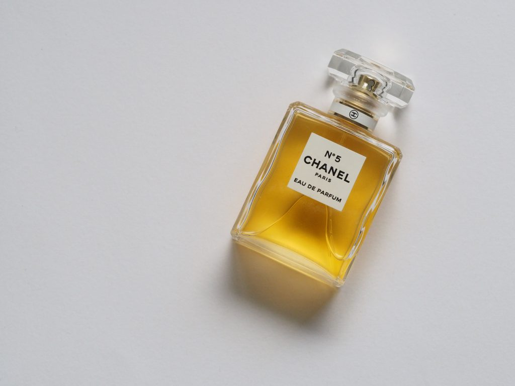 Chanel No.5 Bottle On White Background