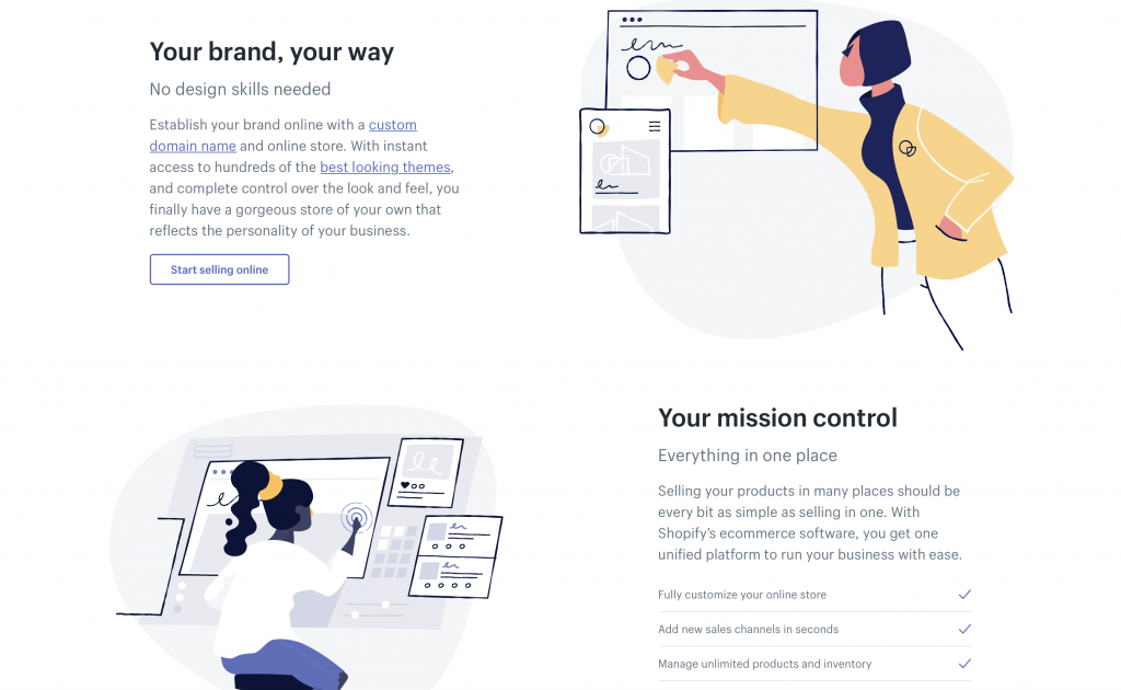 Shopify Illustration in Web Design
