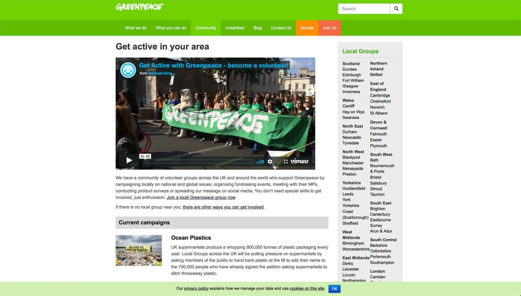 Naturally, Greenpeace uses green across their entire website.