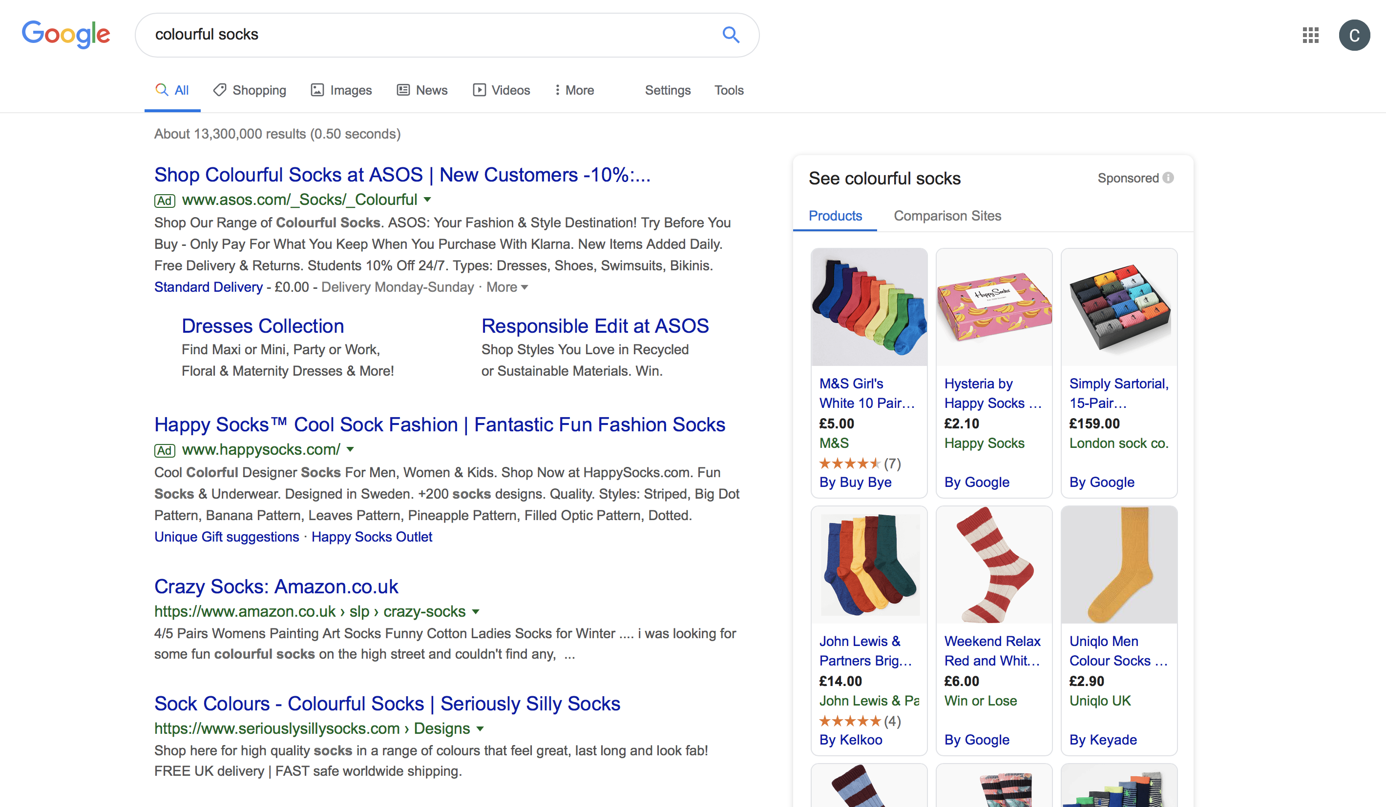 Image of PPC adverts on Google