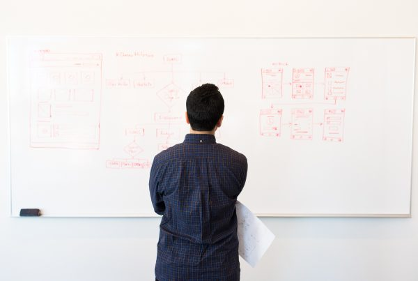 Person standing in front of a whiteboard with website mockups, preparing for their A/B test